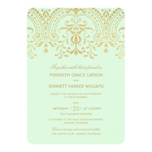wedding invitations mint gold vintage glamour - Mint And Gold Wedding Invitations