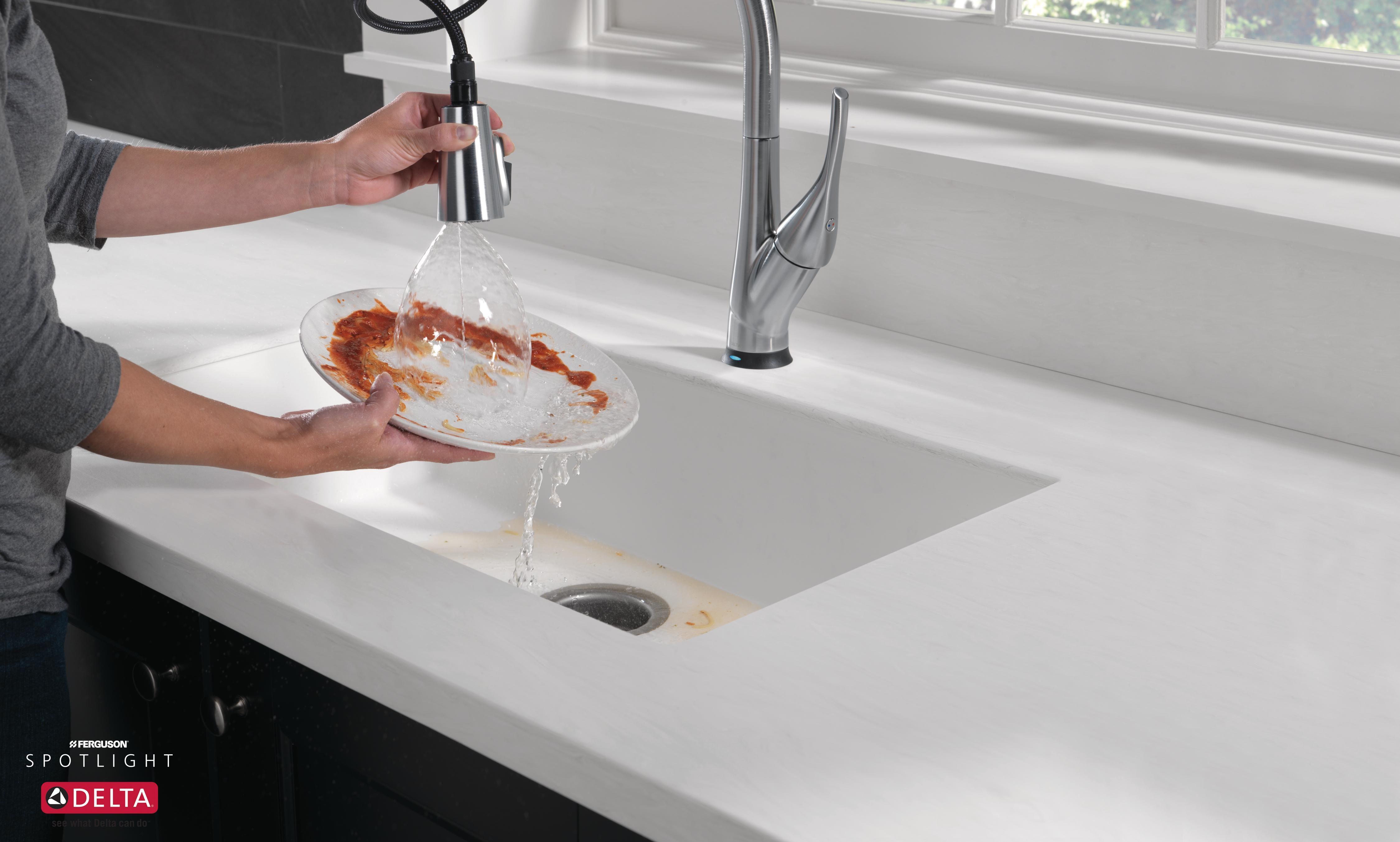 delta pull down kitchen faucet featuring shieldspray technology rh pinterest com
