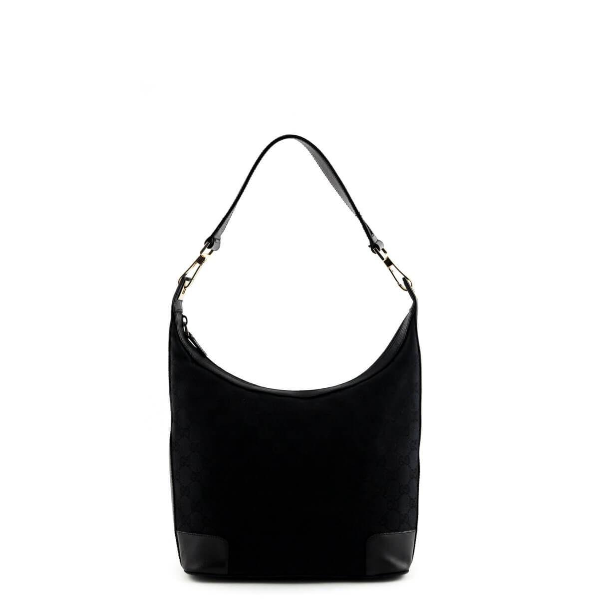 Gucci Black Monogram Canvas Shoulder Bag 250cad Canvas Shoulder Bag Gucci Black Bags
