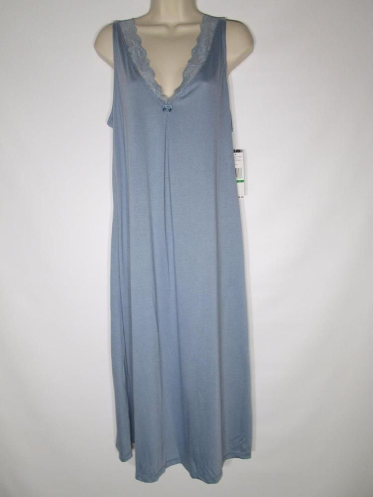 Jones New York Elegant Jersey Lace Sleep Gown Dusk Blue  FJ104G #JonesNewYork #Gowns