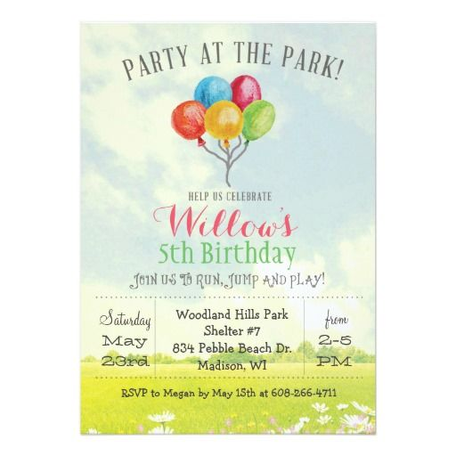 Party In The Park Playground Birthday Invitation