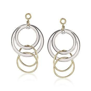 14kt Yellow Gold And Sterling Silver Circle Drop Earring Jackets Ross Simons 86 25