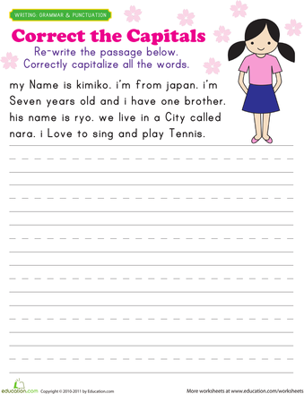 Capitalization Practice: Kimiko | Free worksheets, Bell work and ...