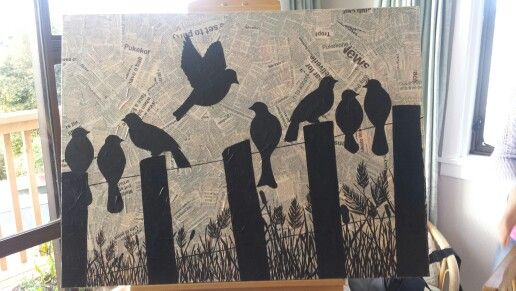 My sillhouette birds... painted with inspiration from pintrest