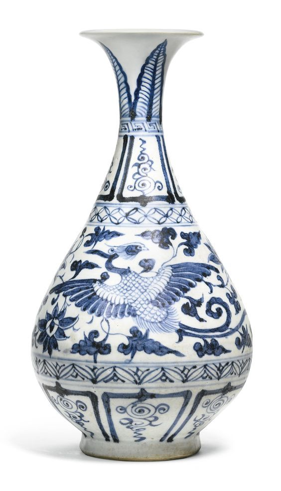 A Blue And White Phoenix Vase Yuhuchunping Yuan Dynasty Blue