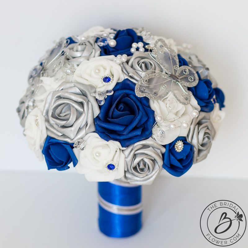 Royal Blue And Silver Butterfly Wedding Bouquet Real Touch