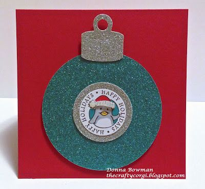 The Crafty Corgi This card used glitter paper, an @Sizzix  ornament die and @DeNami Design stamps.