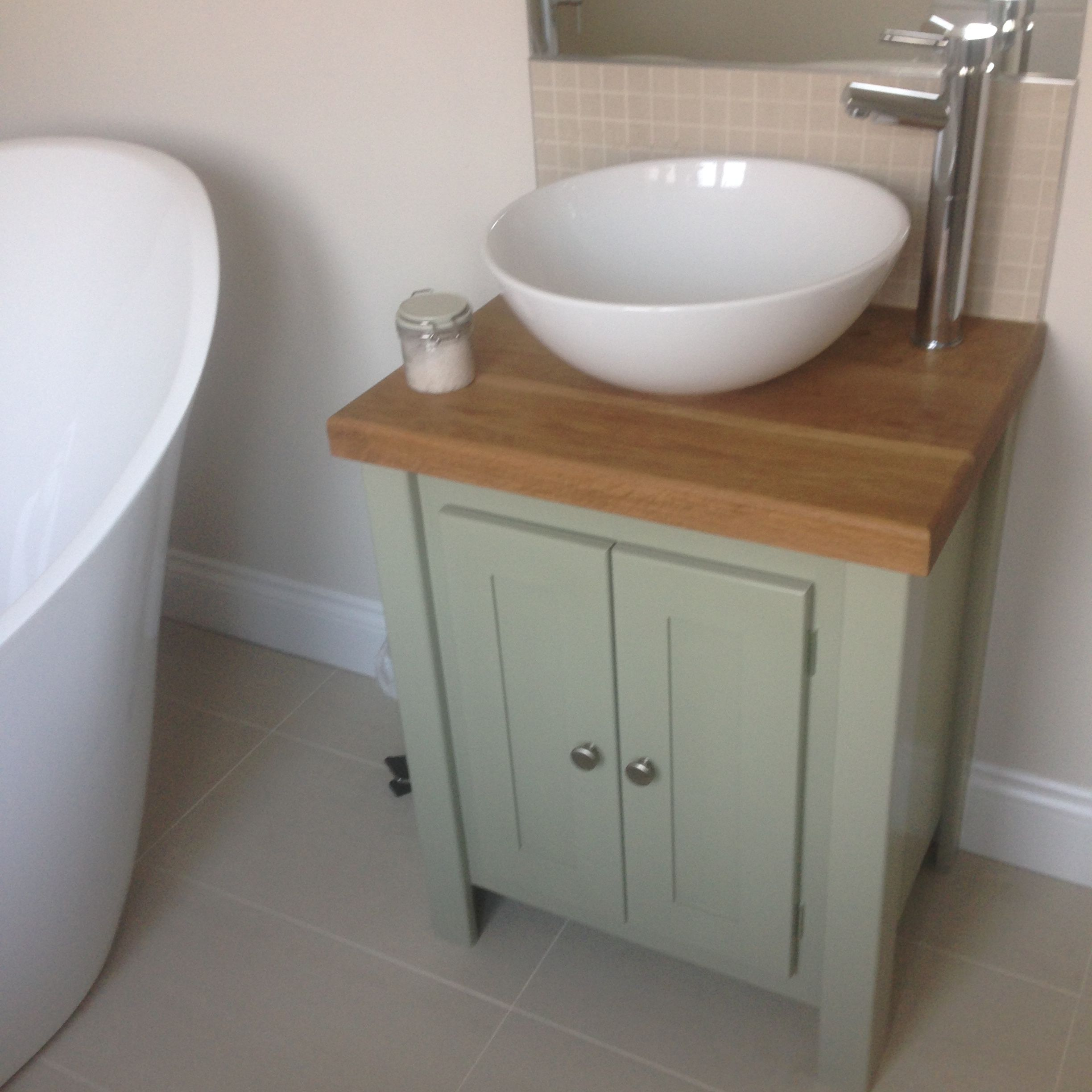 Charleston Grey vanity unit with solid oak