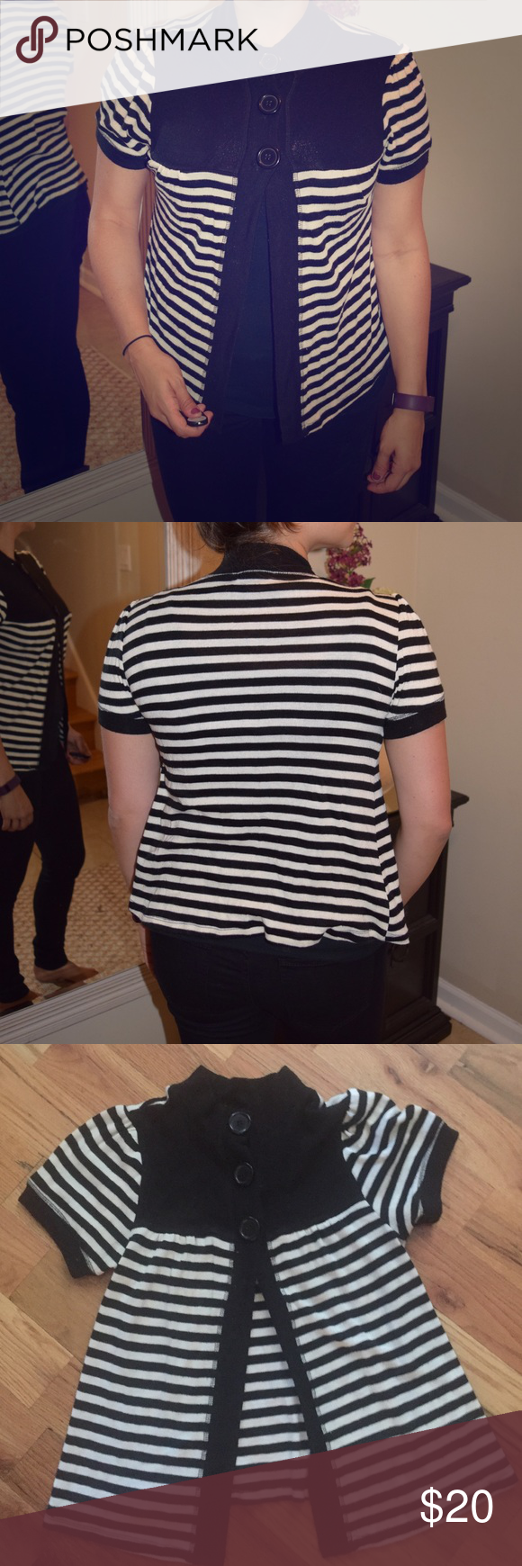 Black & White Striper Short Sleeved Cardigan 3 Buttons up top. Good condition! Great for casual business wear. Eyeshadow Tops Tees - Short Sleeve