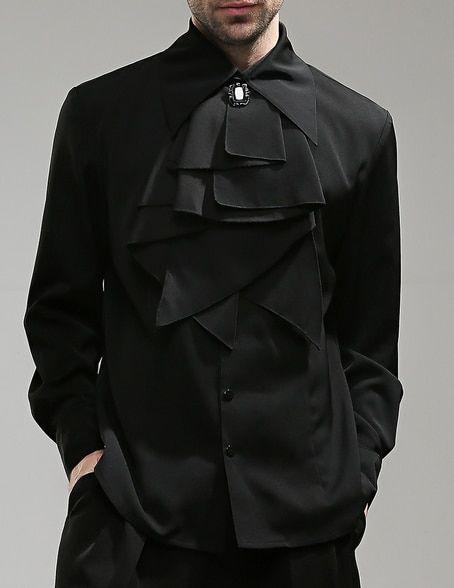 Vintage Men Dress Shirt Black Shirt Cravat Brooch Set Aristocrat Fashion FBESV1Fu