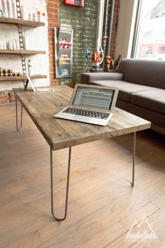 modern rustic reclaimed wood steel with hairpin legs coffee table rh pinterest com