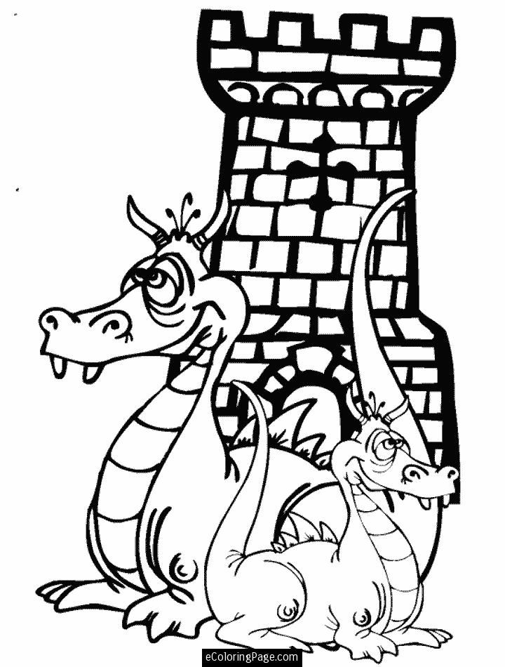 Castle Coloring Pages Printables dragons and castle coloring