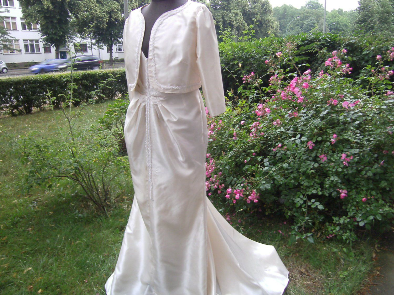 langes creme Hochzeitskleid Kleid Gr.17 Taftkleid - Kleid mit