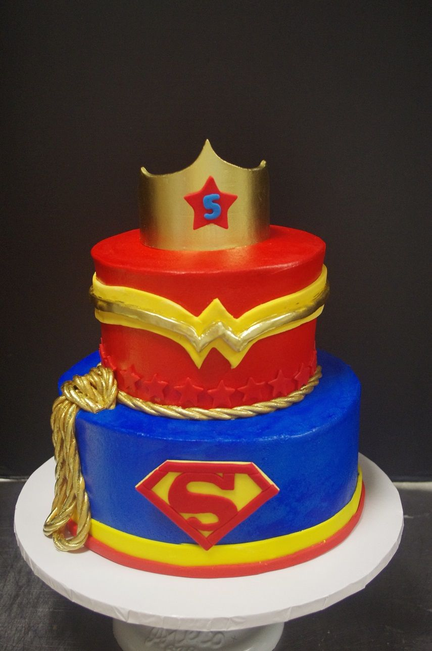 Phenomenal Supergirl And Wonderwoman Girl Superhero Cake With Images Funny Birthday Cards Online Aeocydamsfinfo