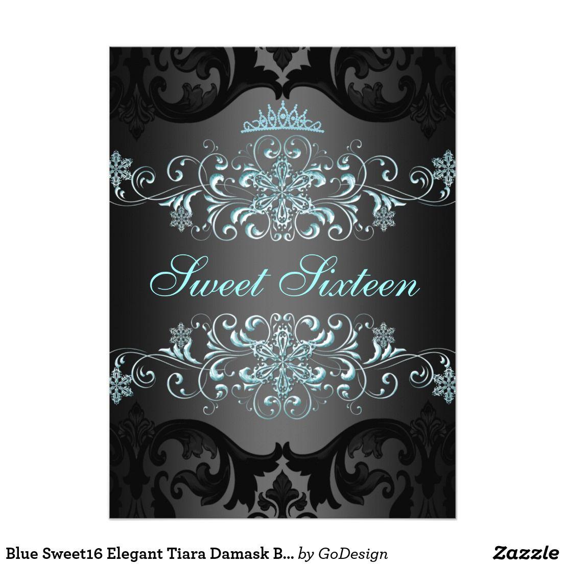 Blue Sweet16 Elegant Tiara Damask Birthday Invite | Party ...