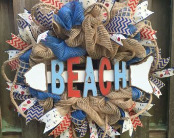 Beach Wreath Beach Decor Front Door by PastNPresentsByAlana