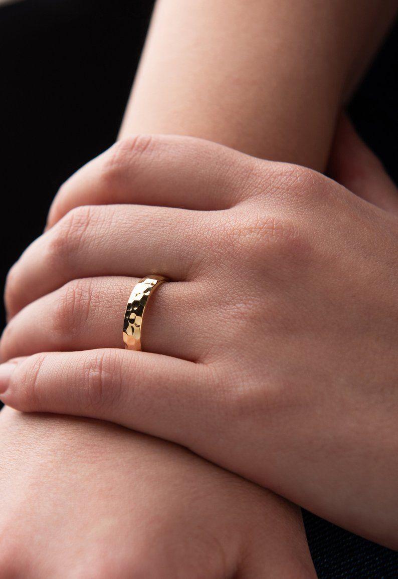 14k Gold Hammered Wedding Band Solid Gold 14k Rustic Textured Etsy Hammered Gold Wedding Ring Hammered Wedding Bands Hammered Wedding Rings