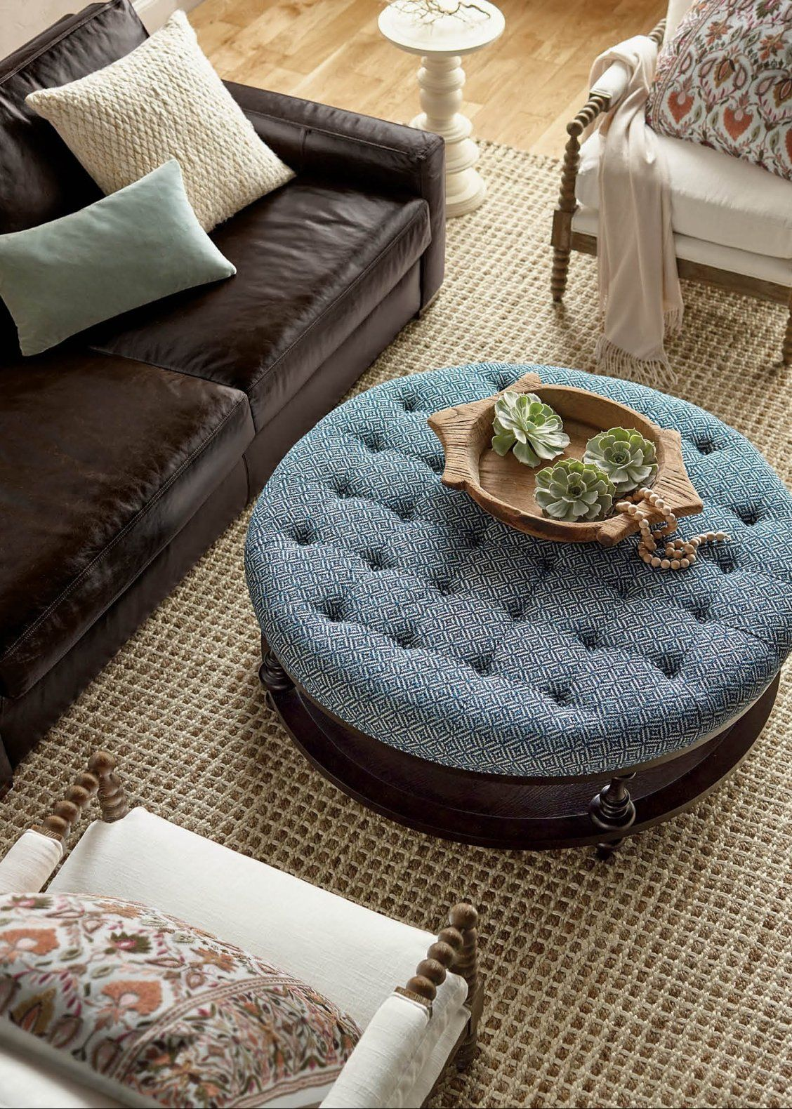 Ellery Round Ottoman Frontgate Round Ottoman Upholstered Coffee Tables Living Room Seating [ 1580 x 1128 Pixel ]