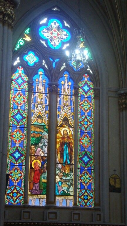 Vitral De Nuestra Señora De Lourdes En El Santuario De Las Lajas En Nariño Colombia Catedral Santuario Laja