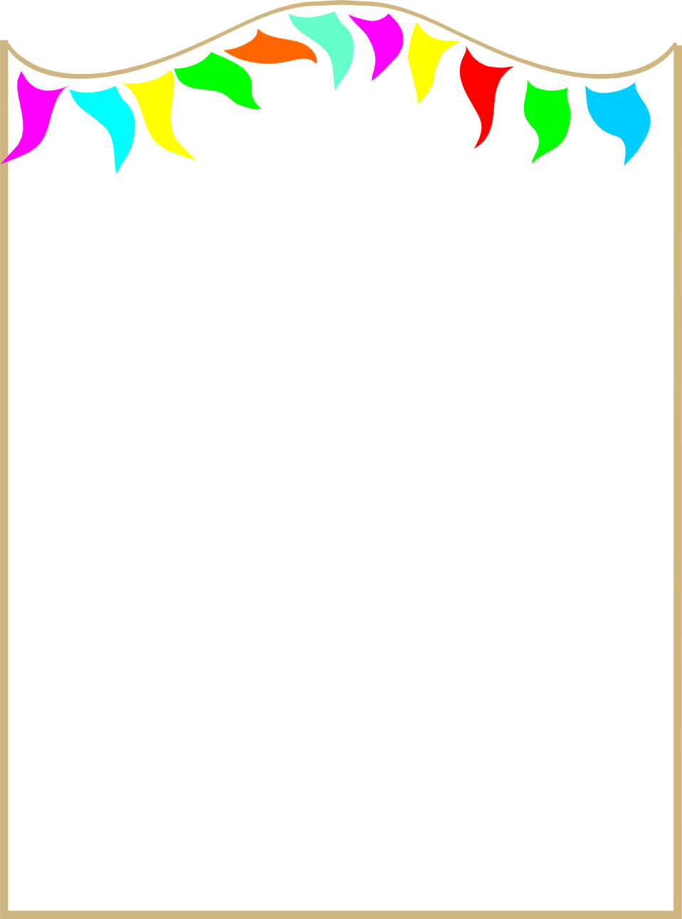 Illustration of a blank frame border with colorful pennants Free