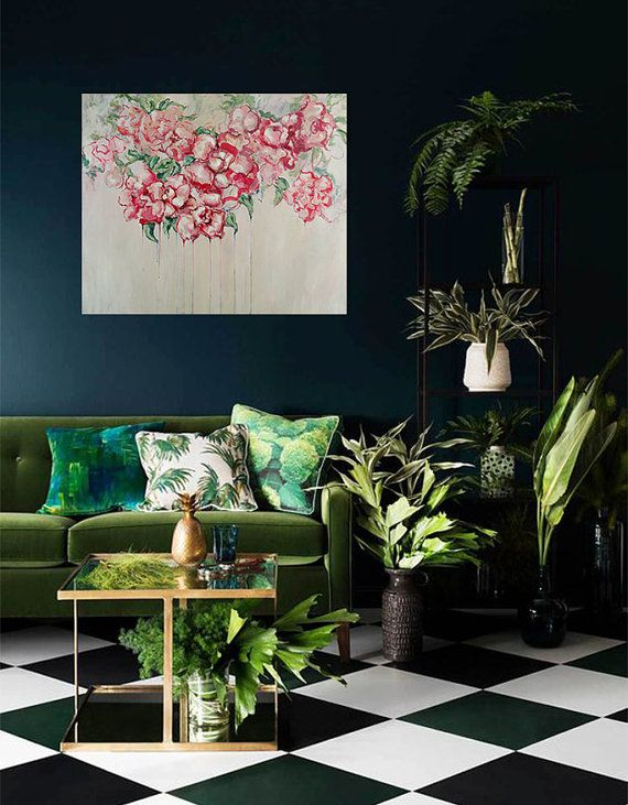 Unique Living Room Abstract Wall Art With Flowers Etsy In 2020 House Interior Interior Green Rooms