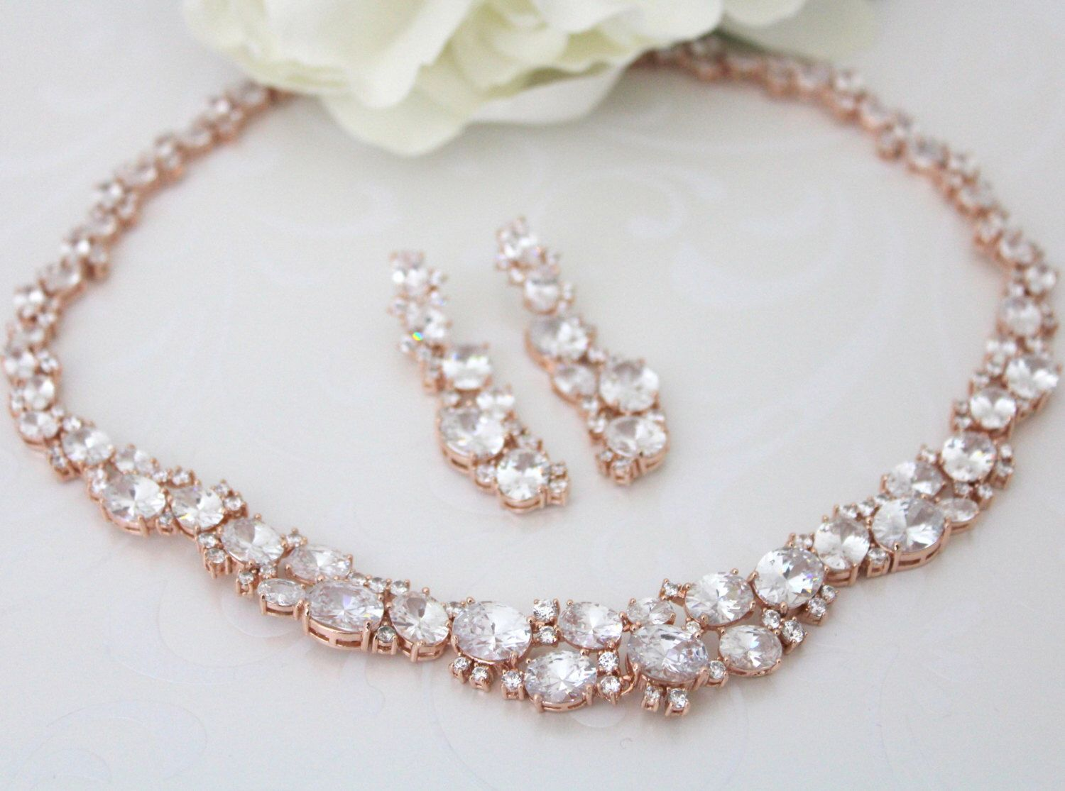 Rose Gold necklace Set, Crystal Bridal necklace, Rose gold ...