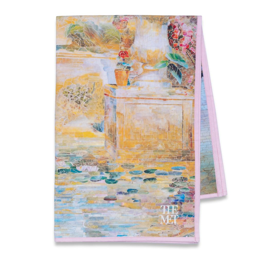 This Colorful Tea Towel Design Features A Garden Landscape Scene By Louis Comfort Tiffany One Of The Highligh Garden Landscaping Towels Design American Wings