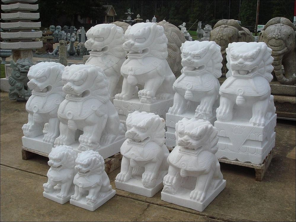 12 36 Inch Marble Chinese Lion Foo Dogs Pair