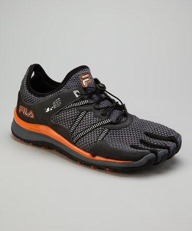 Take a look at this Black & Orange Skele Toes Trail Sneaker