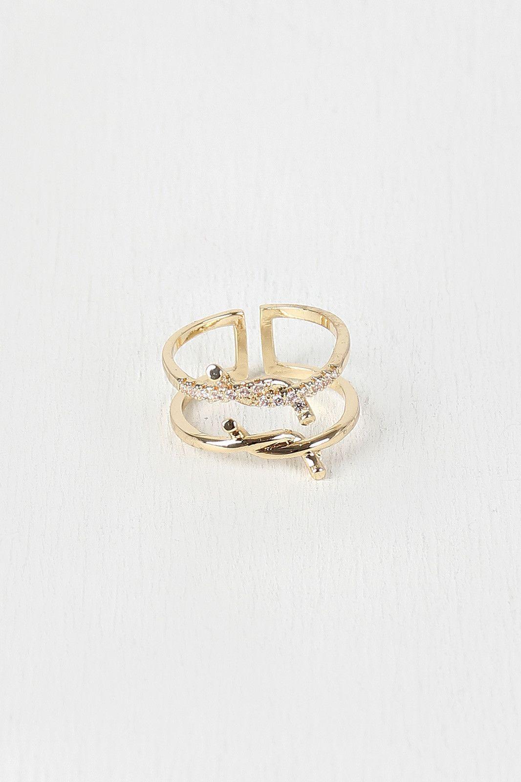 Rhinestone Double Twisted Ring