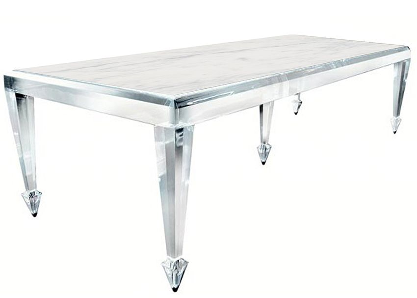 Oh my Pentandria lucite stone dining table with stainless