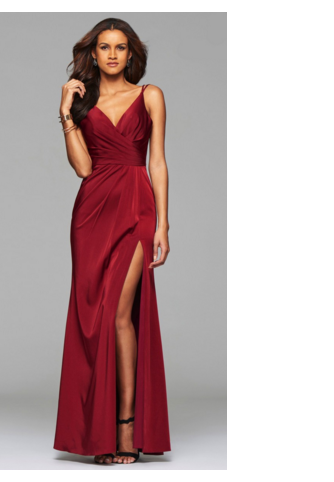 8da480be93a Faviana V-Neck Open Back Wine Color Dress featuring an open back and a high  leg slit with a draped skirt.
