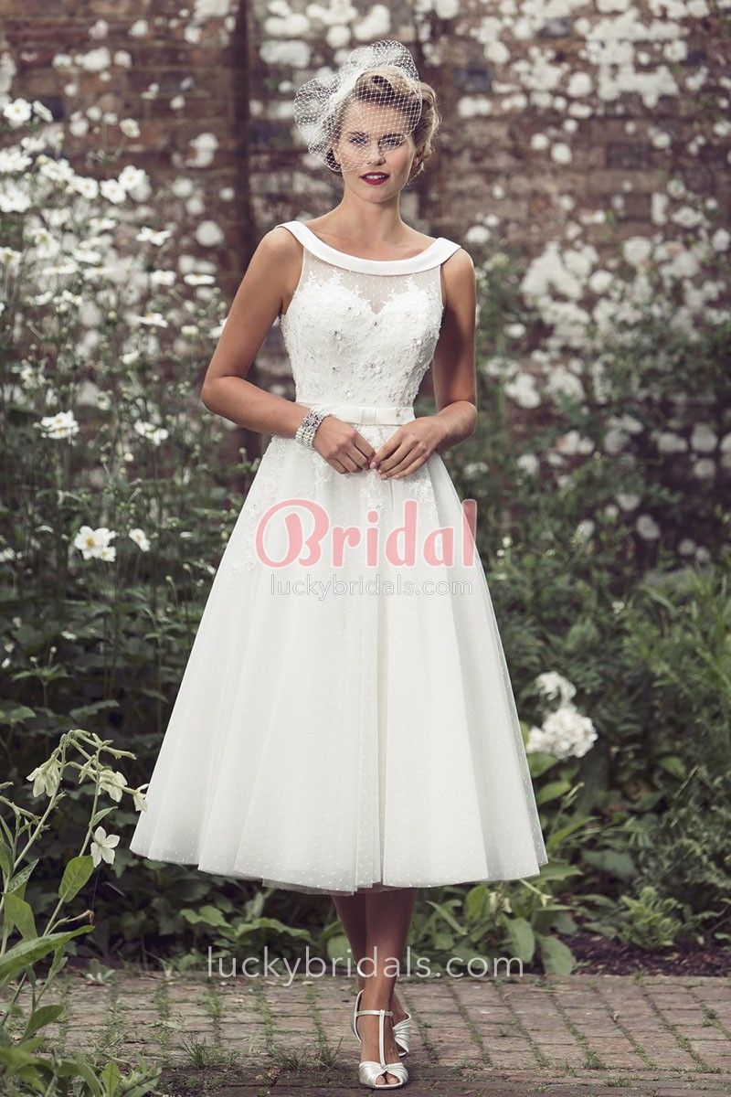 Country Look Tea Length Lace Wedding Dresses