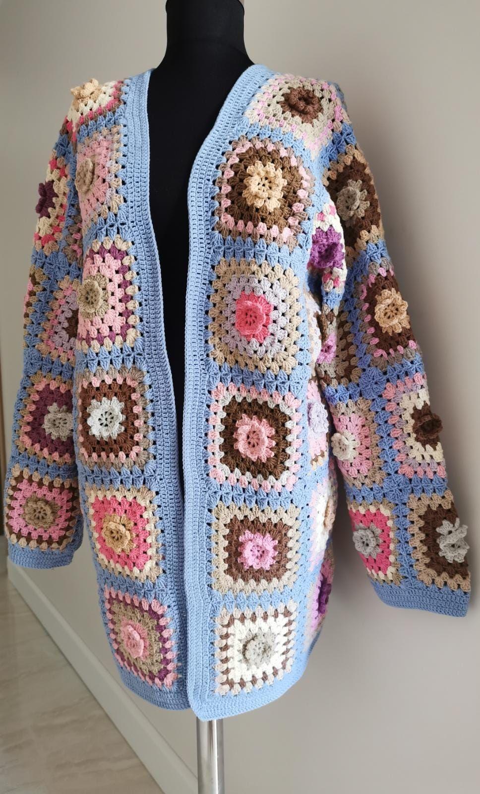 Granny Square Yarn Cardigan,Special Design Granny Square Premium Acrylic Cardigan,Handmade Patchwork Jacket,Handmade Yarn Coat