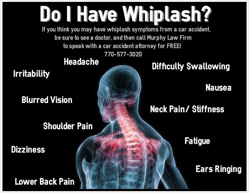 Do I have whiplash? symptoms infographic injurylawyer