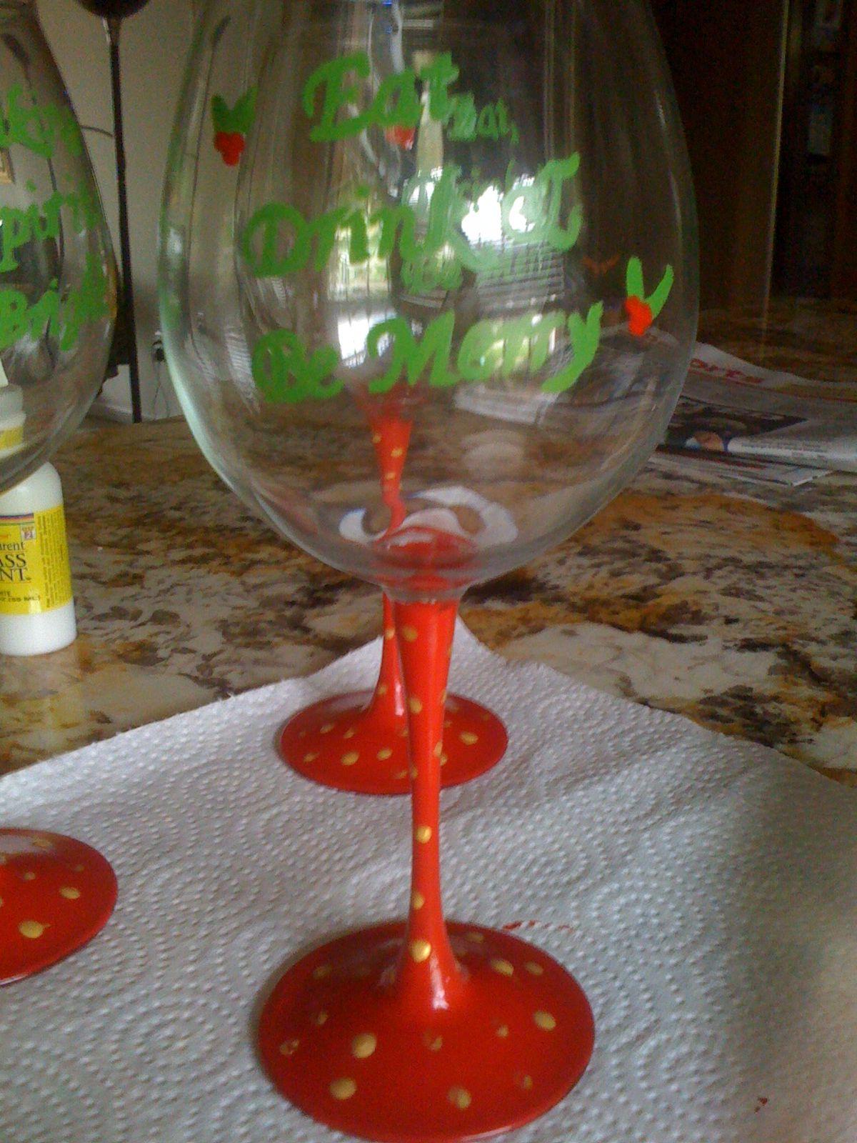Christmas wine glass crafts pinterest christmas wine for Holiday wine glass crafts
