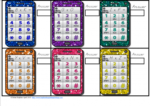Multiplication Cell Phone Texting   Edworld Exchange   Where Educators Buy and Sell Resources
