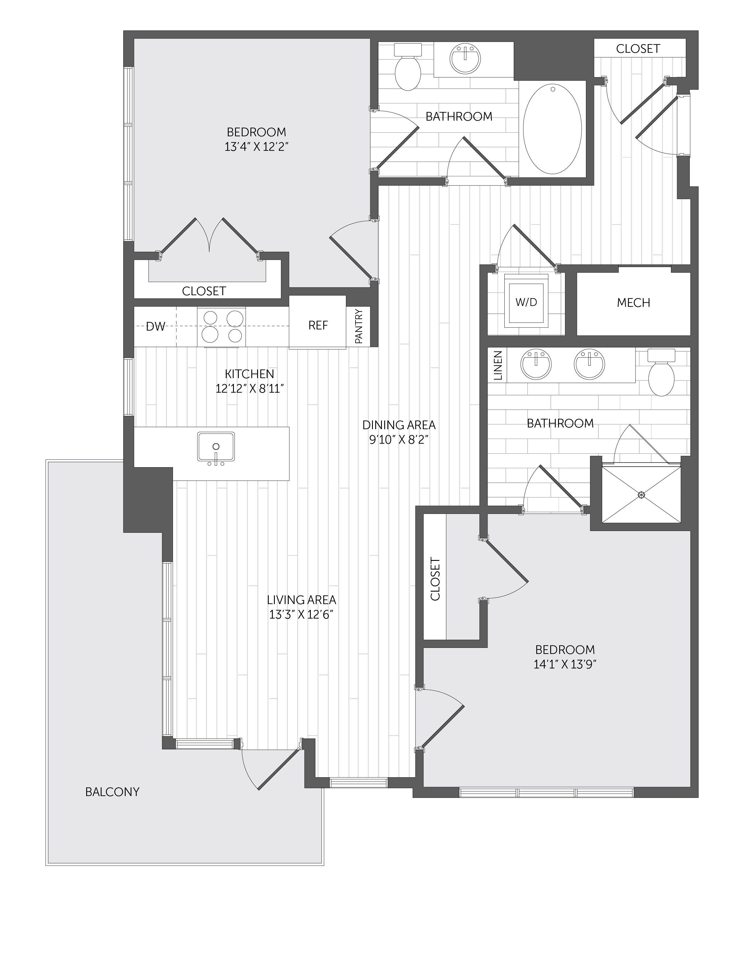 b5 meriel marina bay two bedroom two bathroom layout 1100 square rh pinterest com