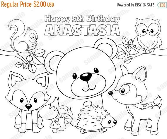 Personalized Printable Woodland Forest Animals Deer Fox Etsy Deer Coloring Pages Animal Coloring Pages Animal Coloring Books