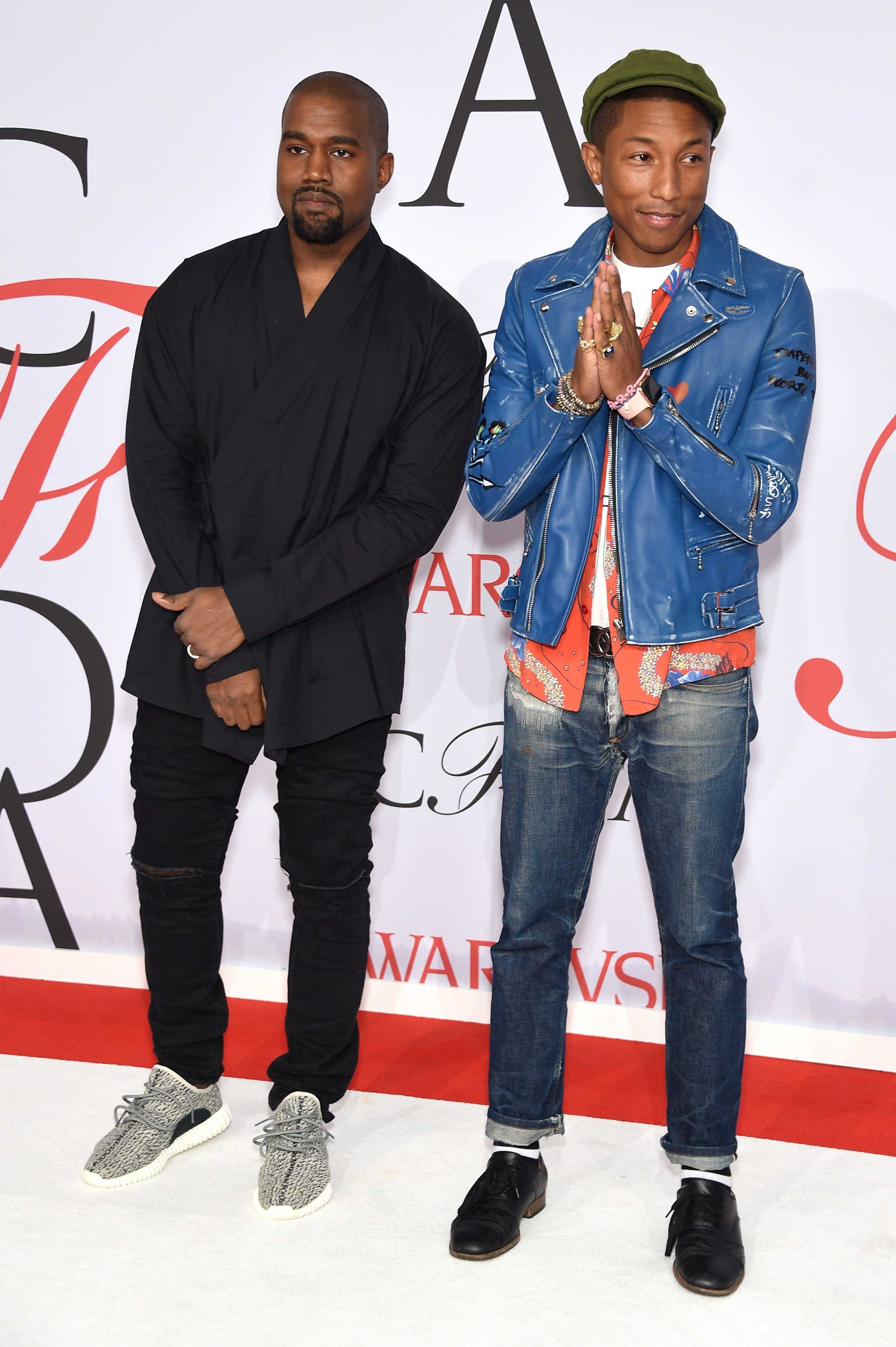 f1a8c7225429 Kanye West and Pharrell Williams at the 2015 CFDA Awards. Photo: Dimitrios  Kambouris/Getty Images.