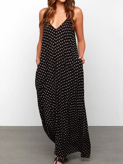 784656f214b Strap Dot V-neck Dress With Pockets. Round Neck Floral Print Maxi Dress – WhatsMode  Maxi Dress Styles