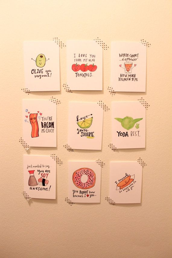 Full Set Of 9 Cute Pun Ny Valentines Day Cards Vocally