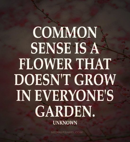 Common Sense Is A Flower That Doesn T Grow In Everyone S Garden Words Quotes Words Quotable Quotes
