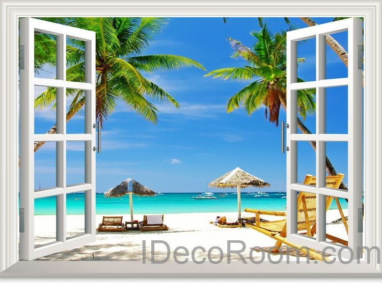 Large tropical beach palm tree 3d window view removable for Beach view wall mural