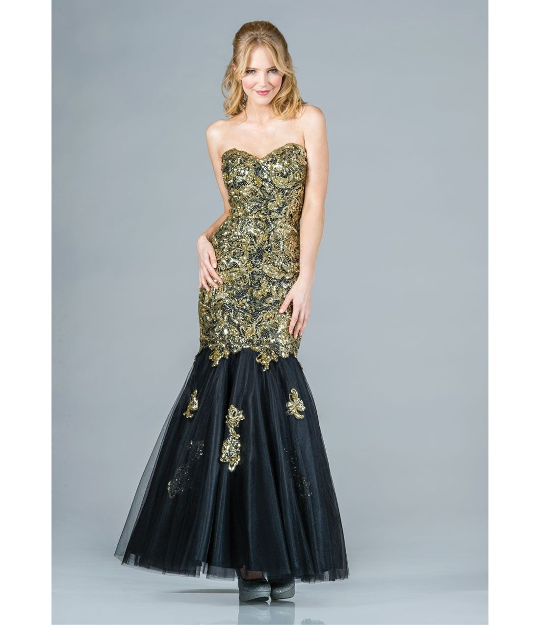 Gold Sequin & Black Tulle Strapless Mermaid Gown | dresses ...
