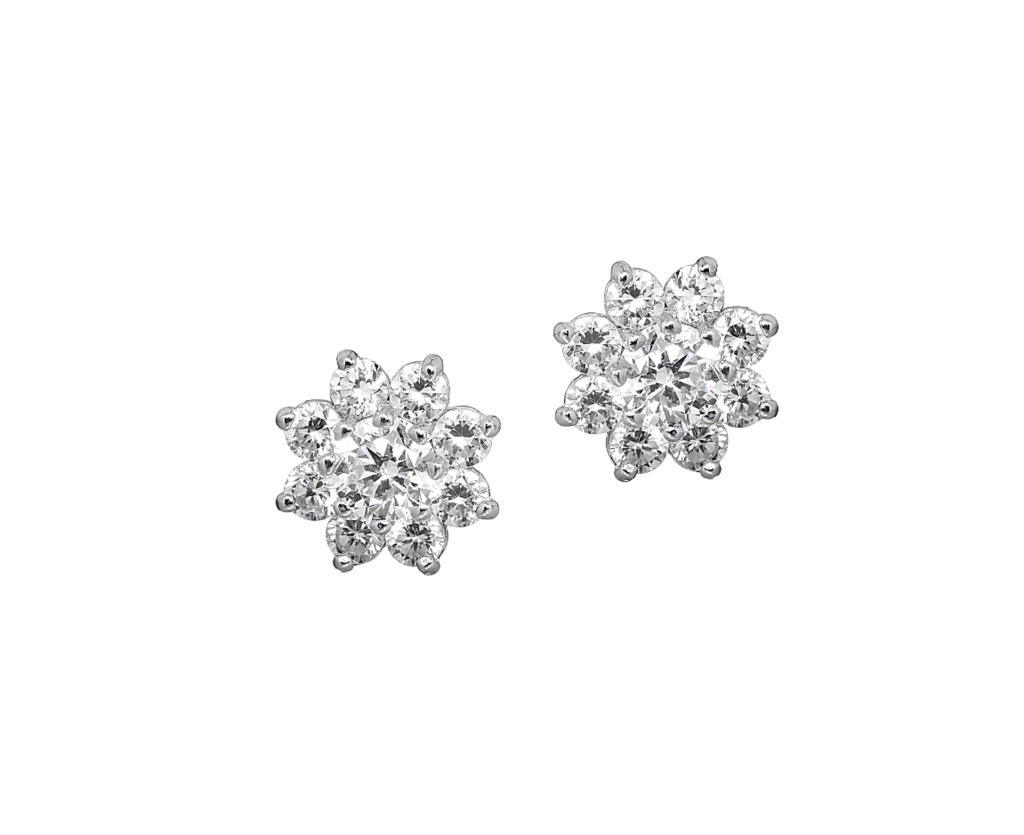 14k Yellow or White Gold Cubic Zirconia Cluster Flower Stud Earrings