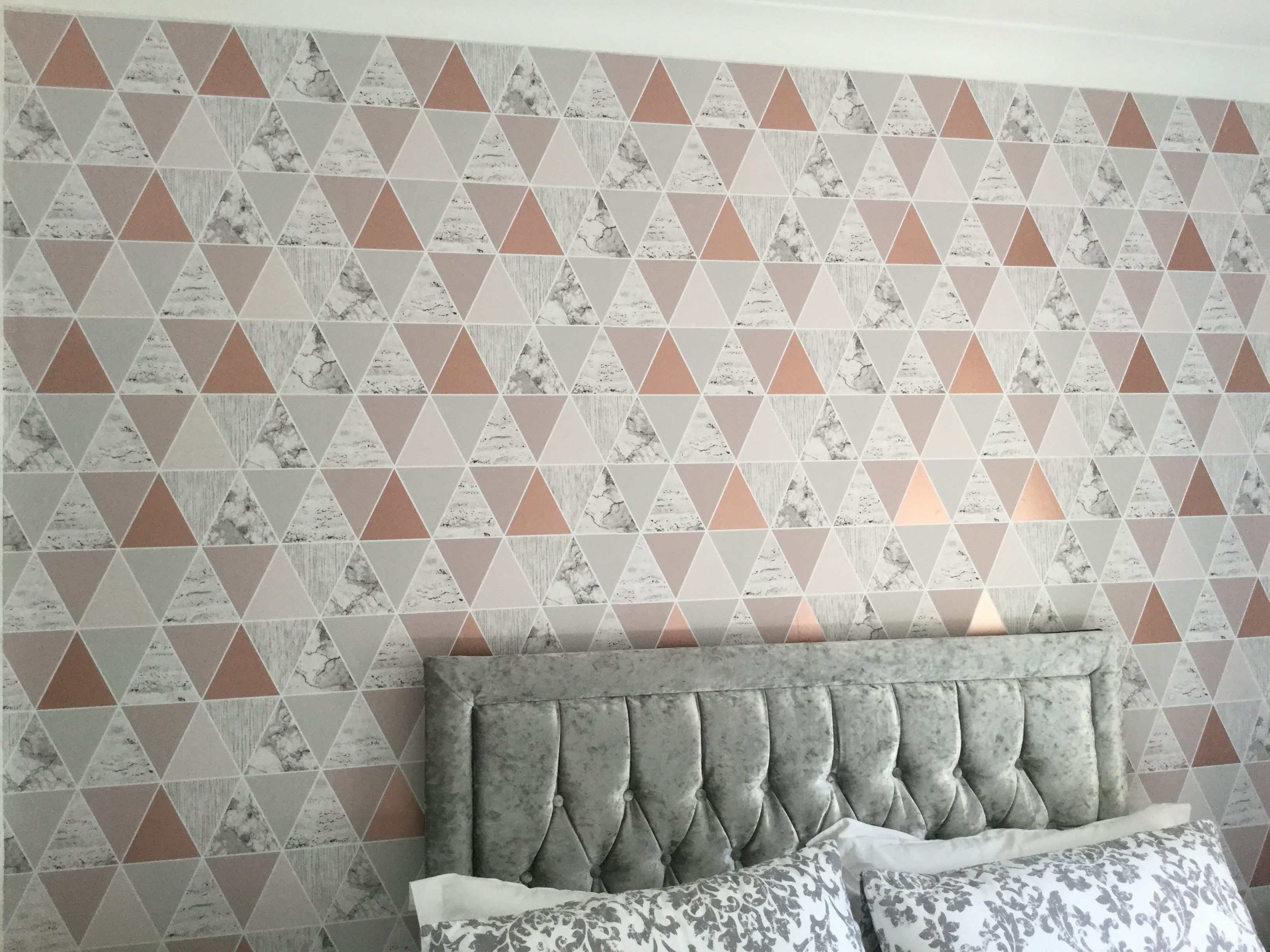 Bedroom, wallpaper of the year, rose gold reflection, graham and brown, grey, silver, pink