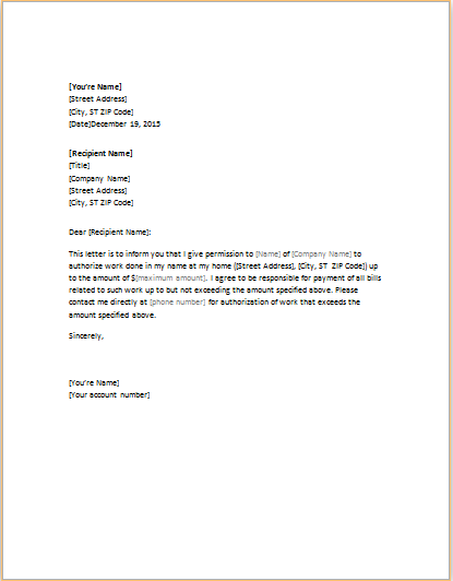 Letter of authorization template 6 example of authority letter penn working papers wajeb Choice Image