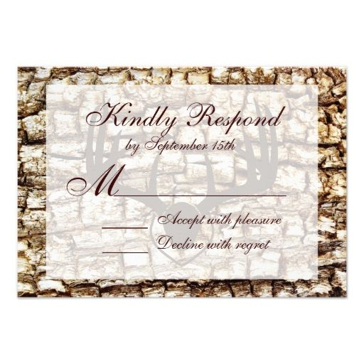 Rustic Country Camo Hunting Antlers Wedding RSVP