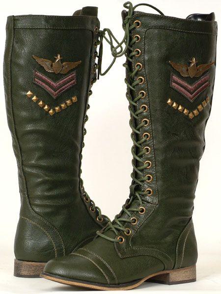 Green Combat Boots Women